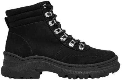 Black Chunky Hiker Flat Ankle Boots-Marks and Spencer