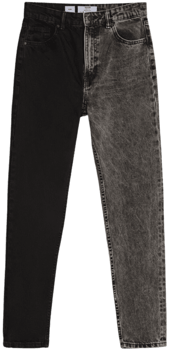 Black Contrasting Two-Tone Mom Jeans-Bershka