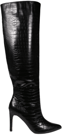 Black Croc Over The Knee Mid Heel Boots-Missguided