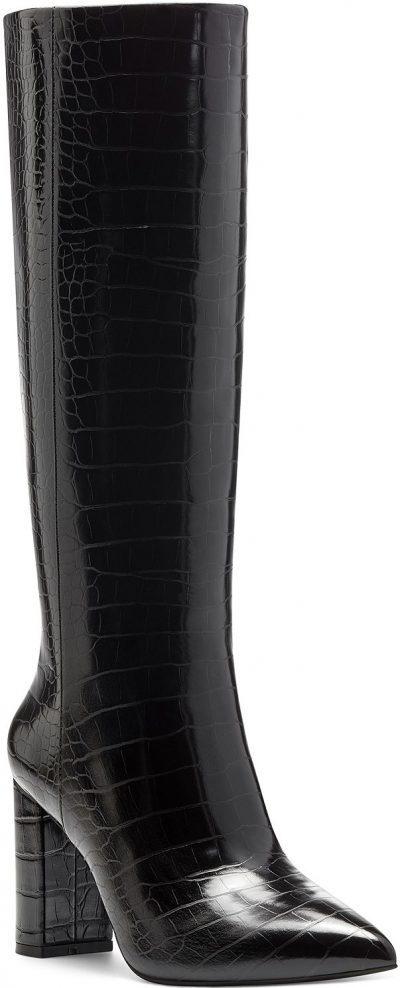 Black Croc Paiton Block-Heel Boots-INC International Concepts