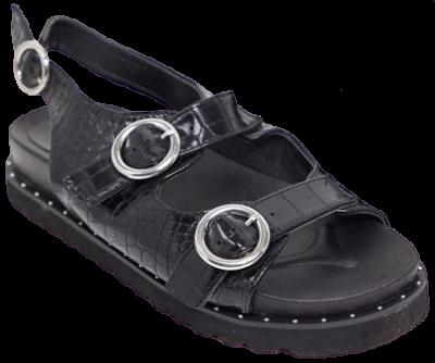 Black Croc Sporty Sandals
