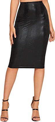 Black Crocodile High Waist Pencil Skirt-SheIn