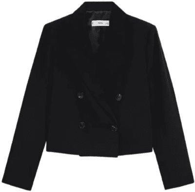 Black Crop Blazer-Mango
