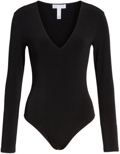 Black Deep V-Neck Long Sleeve Bodysuit-Leith