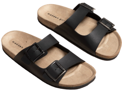 Black Double Buckle Slide Sandal