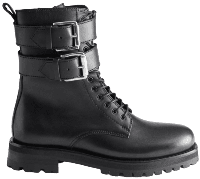 Black Duo Buckle Leather Boots