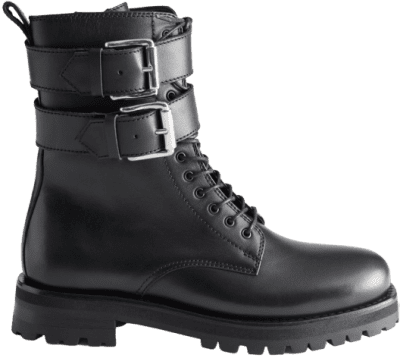 Black Duo Buckle Leather Boots-& Other Stories