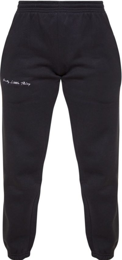Black Embroidered Track Pants