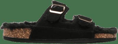 Black Faux Fur Cork Slides-Ardene