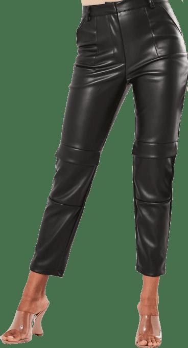Black Faux Leather CargoCigarette Pants