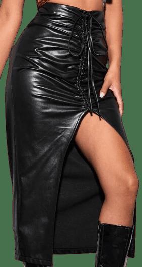 Black Faux Leather Drawstring Ruched Slit Skirt