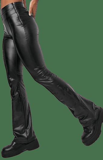 Black Faux Leather Flared Pants-Bershka