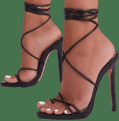 Black Faux Leather Gelato Lace Up Platform Heel-Ego