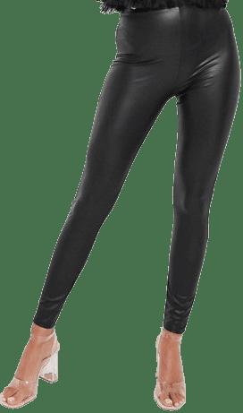 Black Faux Leather Legging-Miss Selfridge
