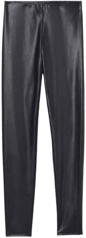Black Faux Leather Leggings-H&M
