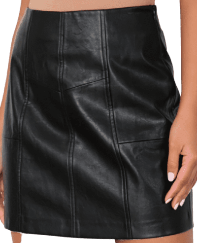 Black Faux Leather Mini Skirt-Missguided