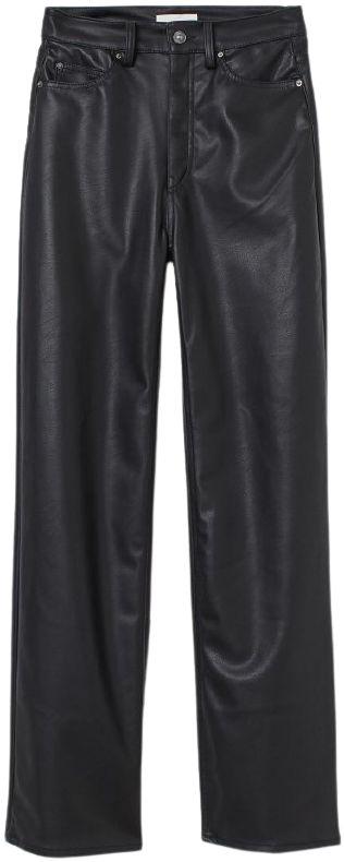 Black Faux Leather Pants-H&M
