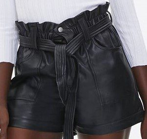 Black Faux Leather Paperbag Shorts-Forever 21
