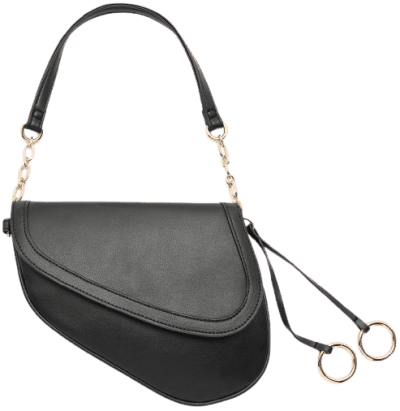 Black Faux Leather Saddle Bag-Ardene