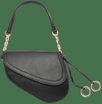 Black Faux Leather Saddle Bag-Ardene