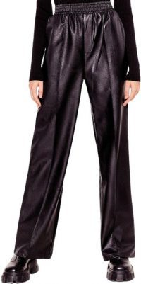 Black Faux Leather Wide Leg Pants-Nasty Gal