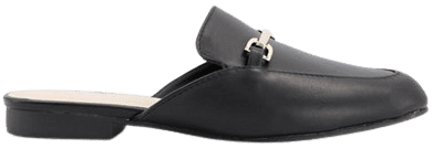 Black Flat Trim Loafer Mules-Qupid
