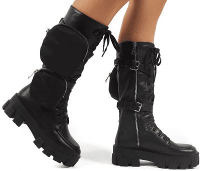 Black Gilda PU Lace Up Pouch Knee-High Boots