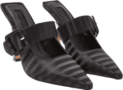 Black Glitz Buckle Mules