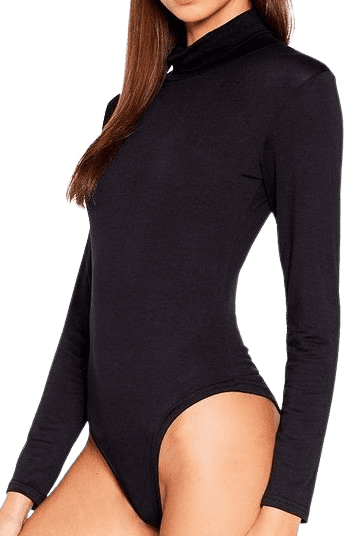 Black High-Leg Bodysuit-Nasty Gal