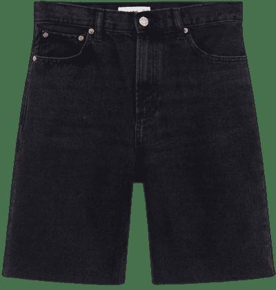 Black High-Waist Denim Bermuda Shorts-Mango