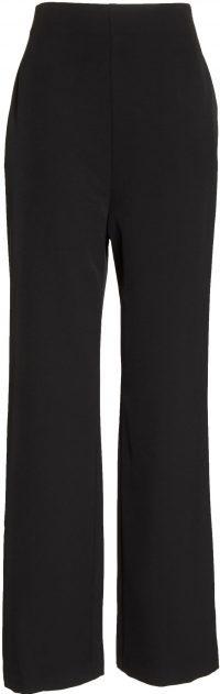 Black High-Waist Straight-Leg Pants