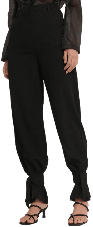 Black High Waist Tie Suit Pants-Basma & Merna x NA-KD