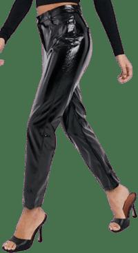 Black High Waisted Straight Leg Vinyl Pants-NA-KD