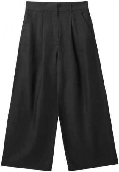 Black High-Waisted Wide-Leg Trousers-COS