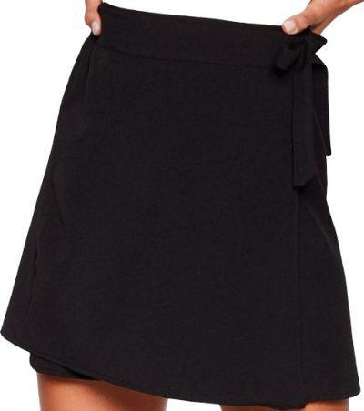 Black I Wonder Tie Wrap Mini Skirt-Nasty Gal