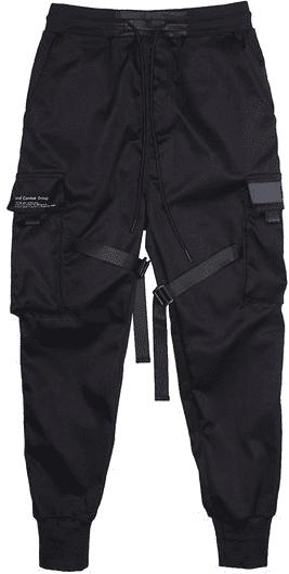 Black Industrial Belt Multi-Pocket Pants