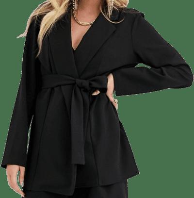 Black Jersey Wrap Suit Blazer-Asos Design