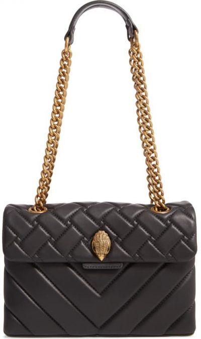 Black Kensington Quilted Leather Shoulder Bag-Kurt Geiger