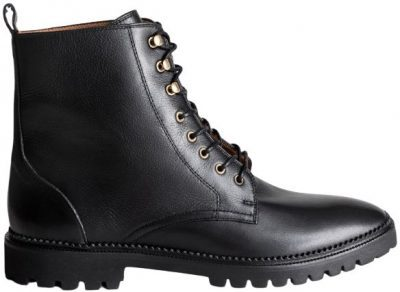 Black Lace-Up Leather Boots-& Other Stories