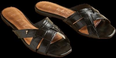 Black Leather Croc Effect Flat Sandals