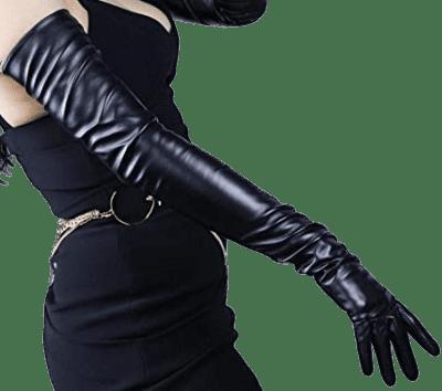 Black Long Leather Dress Gloves