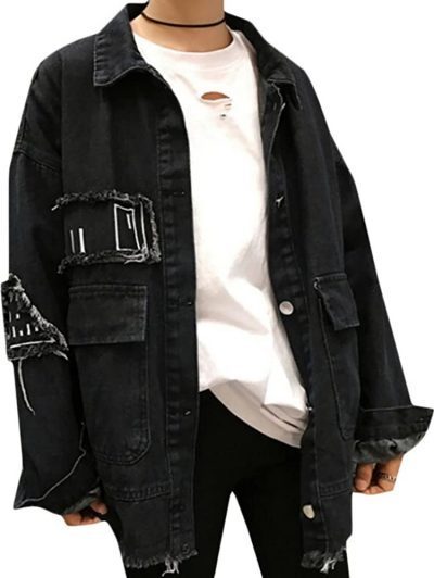 Black Long-Sleeve Button-Down Oversized Denim Jacket