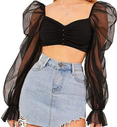 Black Mesh Puff Sleeve Top-Romwe
