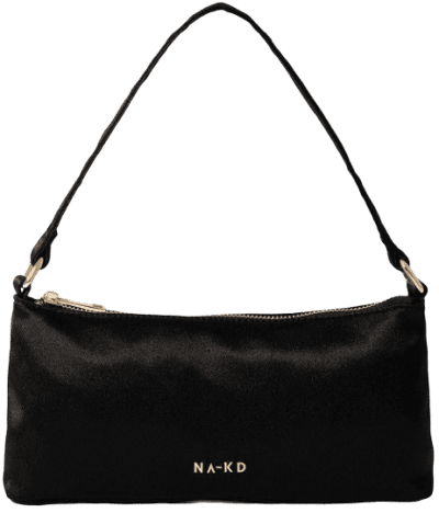 Black Mini Satin Baguette Bag-NA-KD