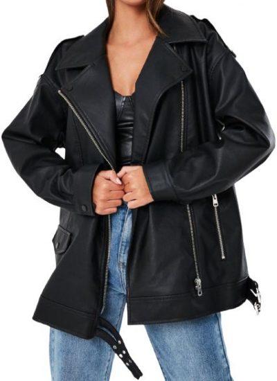 Black Oversized Faux Leather Vintage Biker Jacket-Missguided