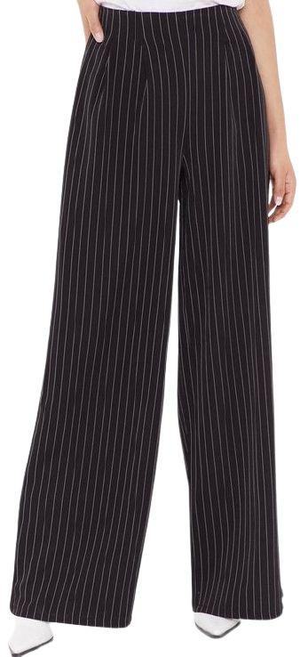 Black Pinstripe Wide Leg Tailored Pants-Nasty Gal_result
