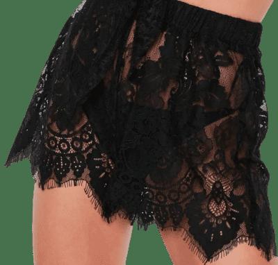 Black Premium Lace Co Ord Beach Shorts