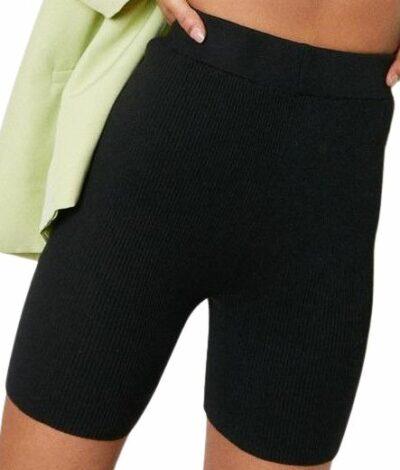 Black Ribbed Knit Longline Biker Shorts-Nasty Gal