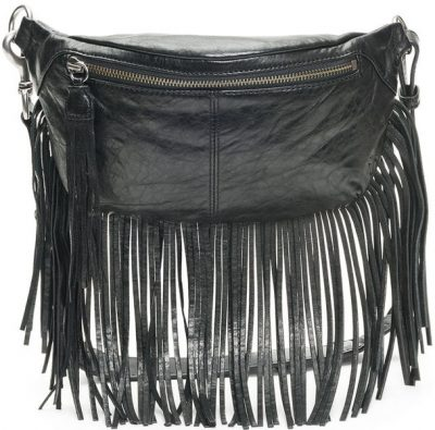 Black Sacha Fringe Belt Bag-Frye