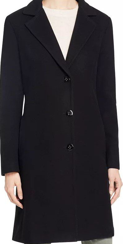 Black Single-Breasted Button Front Coat